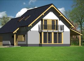 BOLO z werandą + garaż  - dom energooszczędny o powierzchni 110,7m2 + 37,0m2