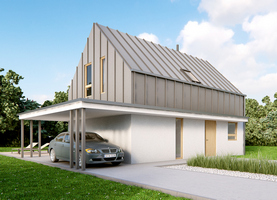 L0 6×9.6  - dom energooszczędny o powierzchni 105,2 m2 + weranda