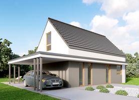 L0 6x9,6 + 5syp  - dom energooszczędny o powierzchni 90,0 m2