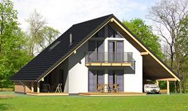 Dom energooszczędny z ciemnymi dachówkami