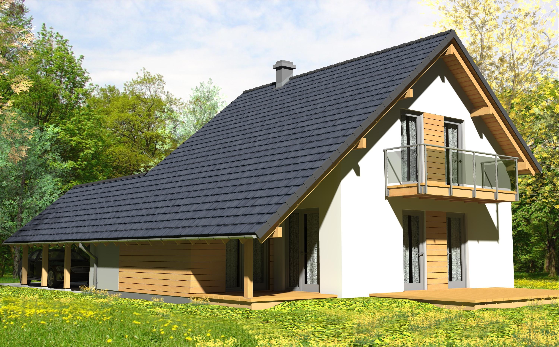 Dom BAT mały II + pokój  - dom energooszczędny o powierzchni 109,3 m2